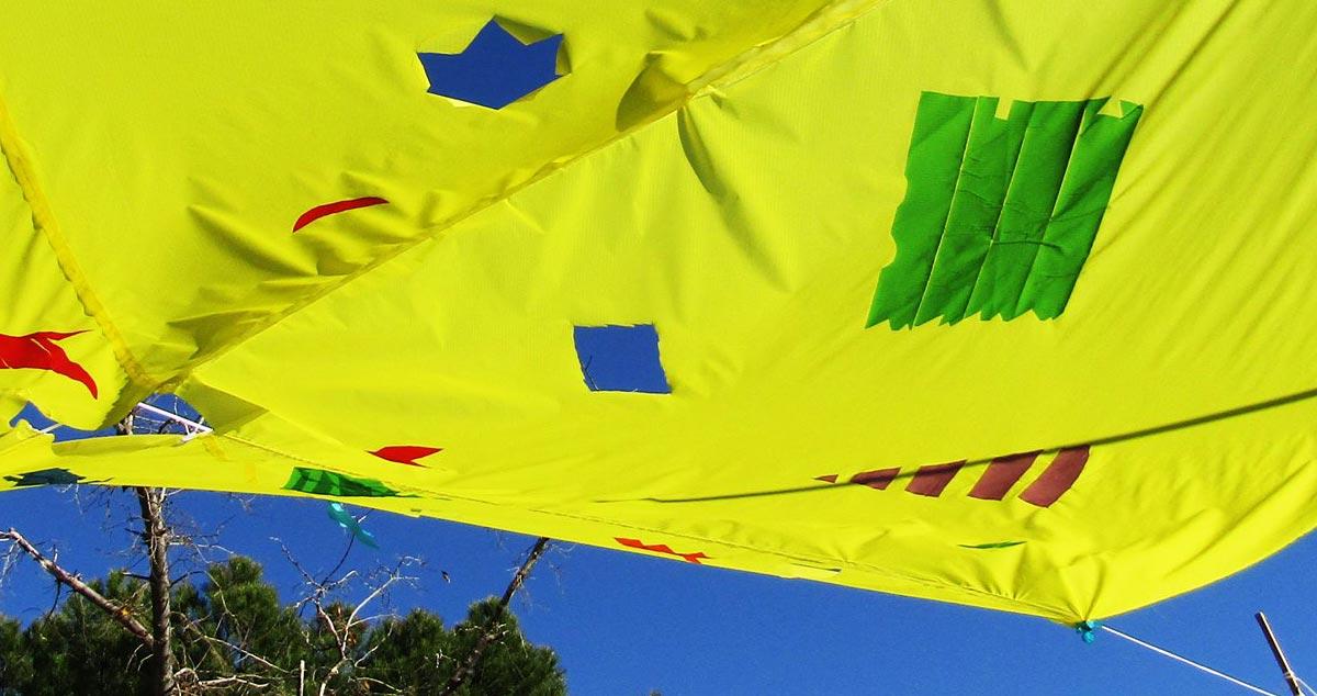Uno de los parasoles construidos