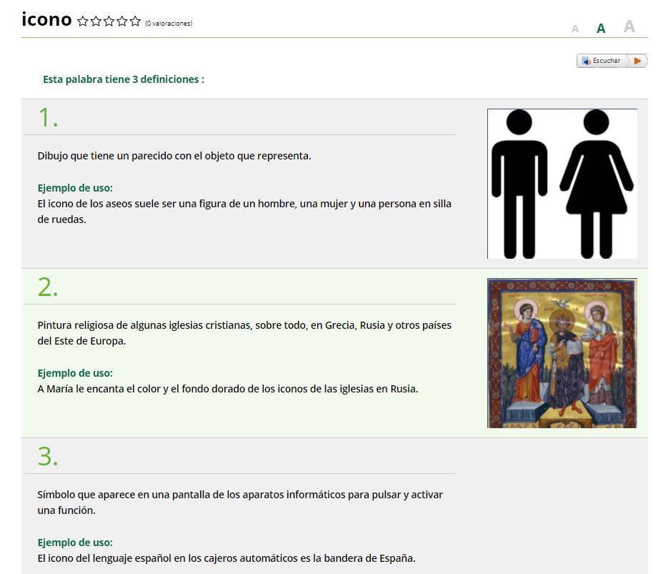 Captura de pantalla de las definiciones de Icono en el Diccionario Fácil