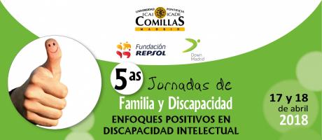 Cartel de las Jornadas de Familia y Discapacidad de Down Madrid y Fundación Repsol