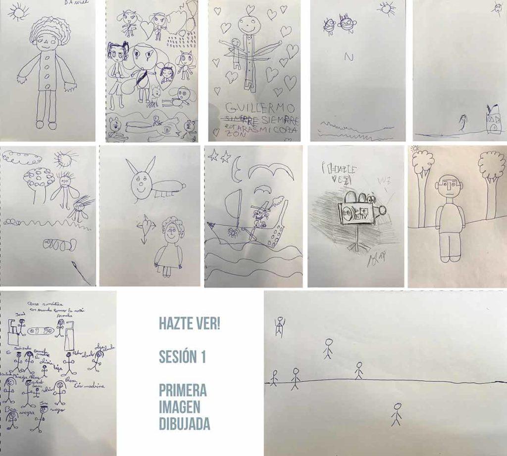 Dibujos realizados en la primera sesión