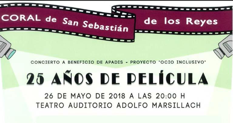 Concierto 25 Aniversario de la Coral de San Sebastián de los Reyes solidario con Apadis.