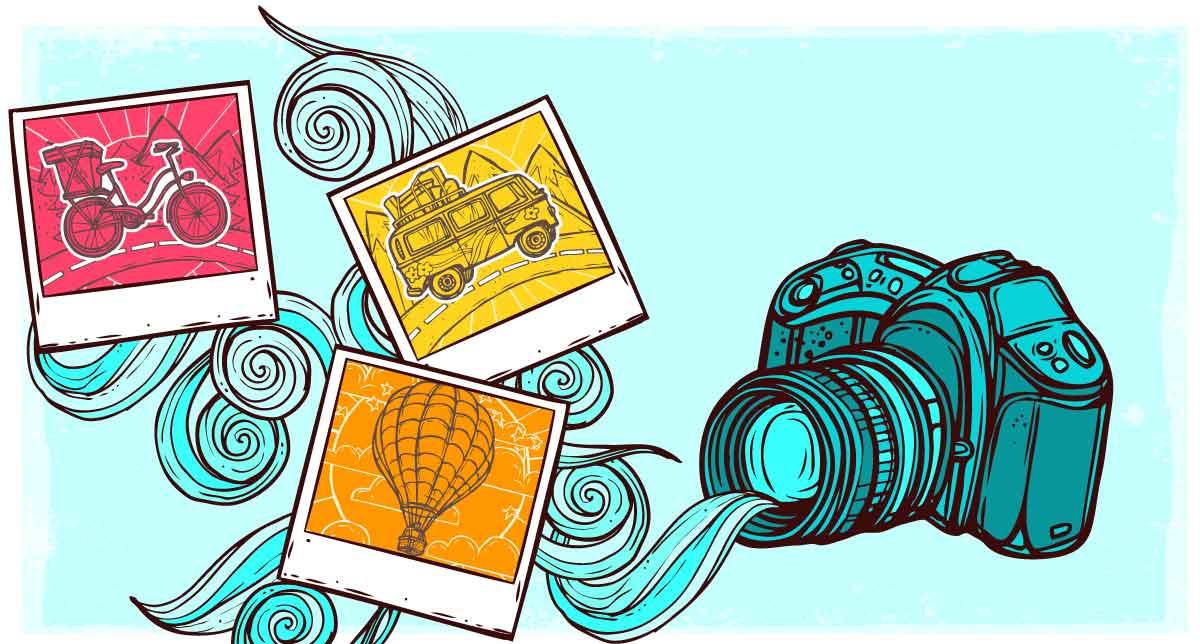 Imagen de una cámara enfocando fotos familaires