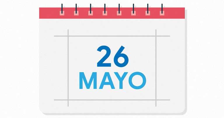 calendario con fecha 26 de mayo