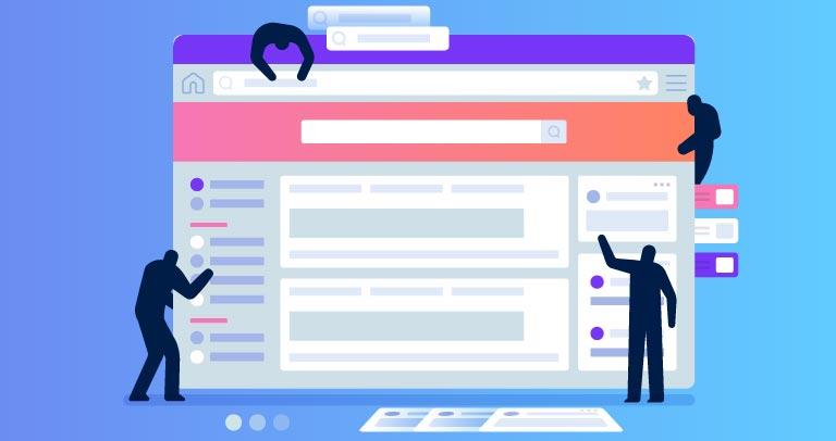 Imagen de personas figuradas construyendo una web