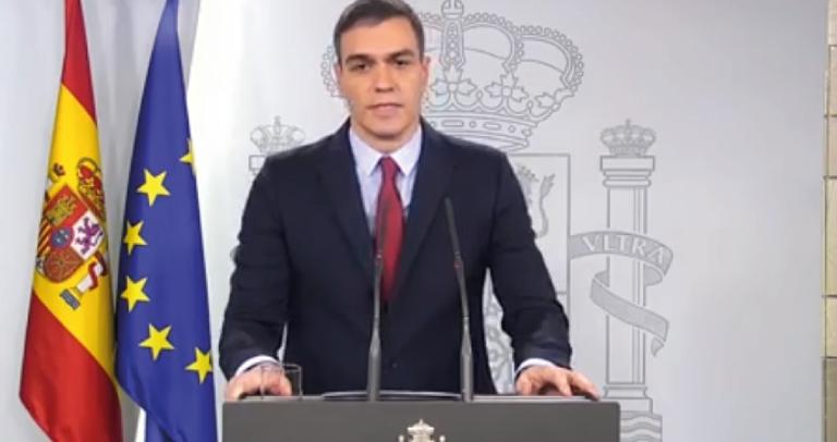 Pedro Sánchez durante el anuncio