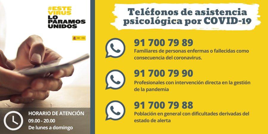 inormacion telefonos atención psicológica