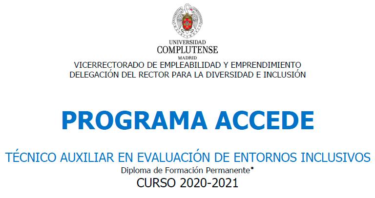 Programa Accede: Técnico auxiliar en evaluación de entornos inclusivos