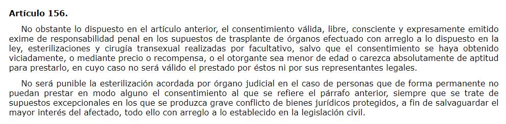 Artículo 156 del Código Penal