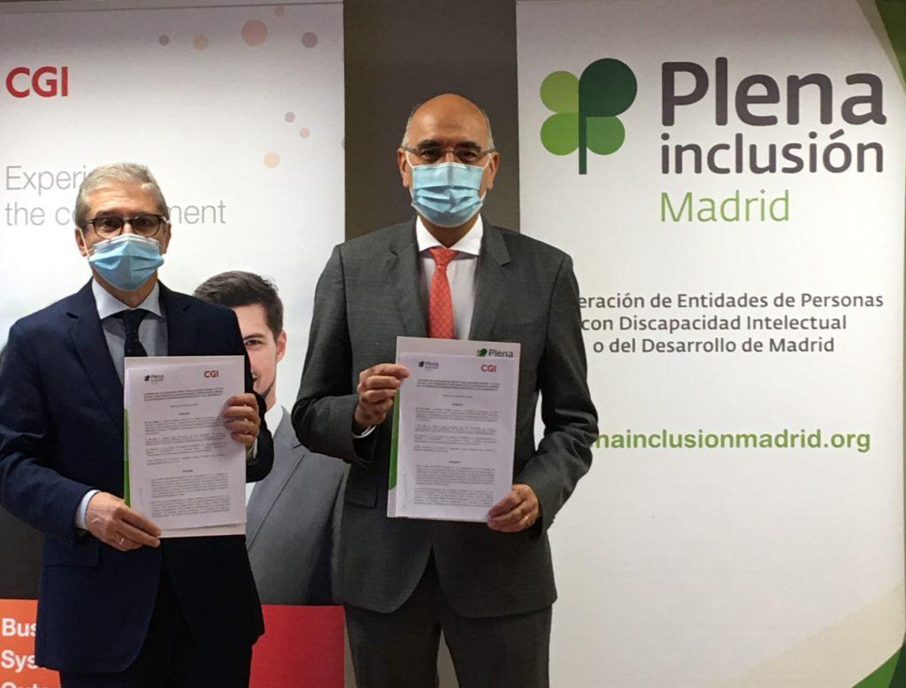 Firma de Convenio entre Mariano Casado presidente de Plena Inclusión Madrid y Joaquín Oset, director de Recursos Humanos de CGI