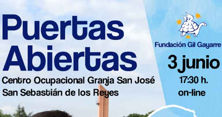 Fragmento del cartel de promoción de la Jornada de Puertas Abiertas del CO Granja San José de Fundación Gil Gayarre, el próximo 3 de junio